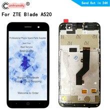 ل ZTE شفرة A520 شاشة الكريستال السائل + اللمس استبدال الشاشة محول الأرقام مع الجمعية الإطار الهاتف لوحة ل ZTE A520 520 عرض