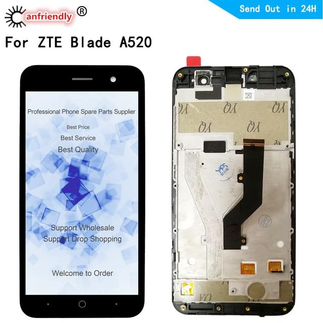 Zte 블레이드 a520 lcd 디스플레이 + 터치 스크린 replacment 디지타이저 프레임 어셈블리 전화 패널 zte a520 a 520 디스플레이