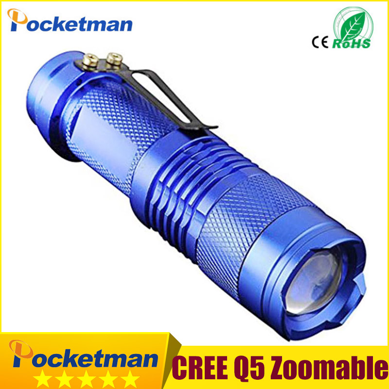 Super Mini CREE Led Flashlight Q5 Waterproof 3-Mode Zoomable LED Flashlight lantern Torch Light Lanterna free shipping professional led flashlight cree q5 strong lumens black zoomable led torch lantern 3 models lanterna led penlight free shipping