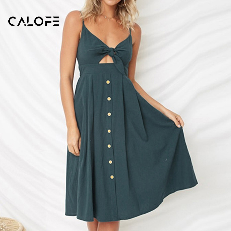 CALOFE Sexy Party Dress Women Sexy Bodycon Ladies Sundress Spaghetti Strap Backless Bandage Dress Female V-Neck Printed Dresses