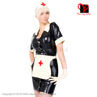 Sexy Latex Nurse Dress with gloves apron headgear Rubber doctor uniform short sleeves Playsuit Medical Bodycon plus size QZ 043