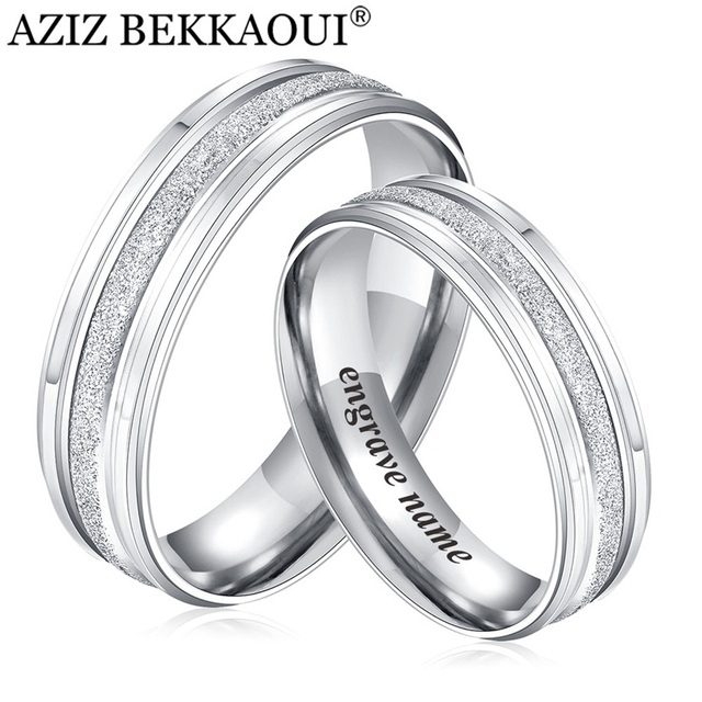 Aziz Bekkaoui Couple Rings Stainless Steel Wedding Rings Engrave Name Rings For Lover Engagement Promise Jewelry