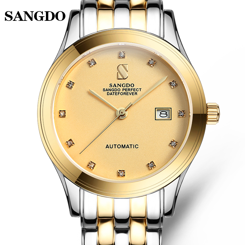 Luxury SANGDO watch men gold Stainless steel Automatic mechanical gold waterproof calendar wristwatch relogio masculineLuxury SANGDO watch men gold Stainless steel Automatic mechanical gold waterproof calendar wristwatch relogio masculine