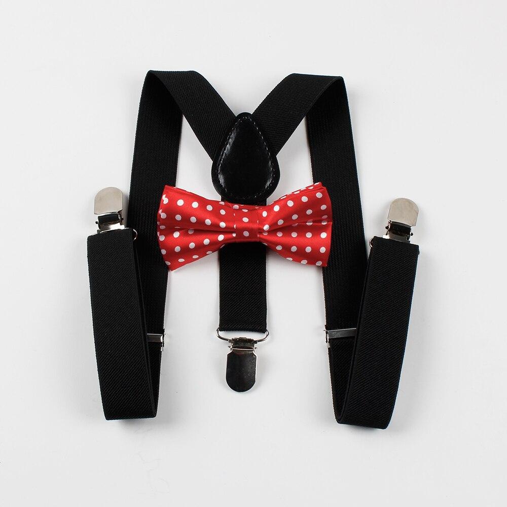 Mantieqingway Children Suspenders Kids Braces Suspenders Bow Tie Sets Dot 3 Clip-on Suspenders Child Accessories