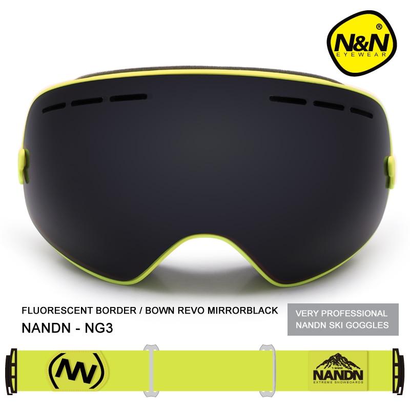 Nandn Marque Sport Professionnel Ski Lunettes Lunettes Anti-Brouillard UV400 Ski Lunettes Points Masque Ski Snowboard Hommes Femmes Neige lunettes