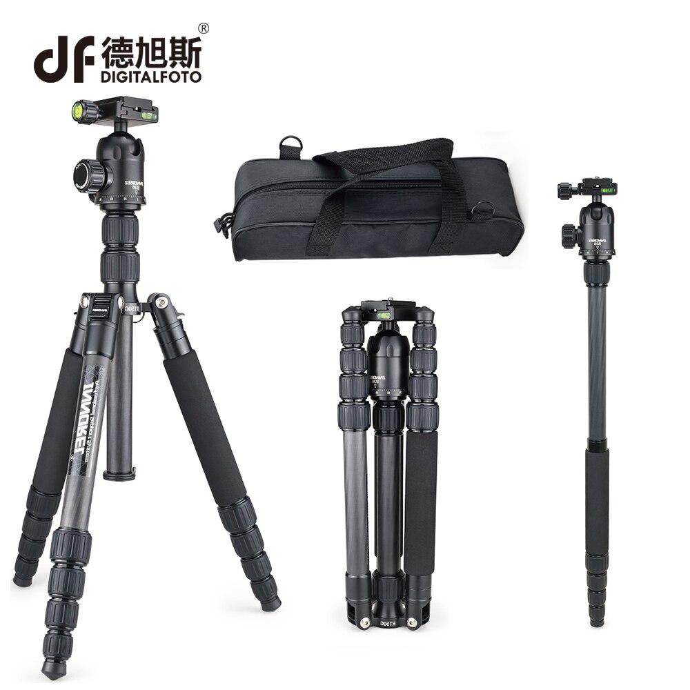 DIGITALTOFO RT50C 12KG bear carbon fiber professional camera tripod DSLR monopod stand for Canon Nikon shooting photographer цена