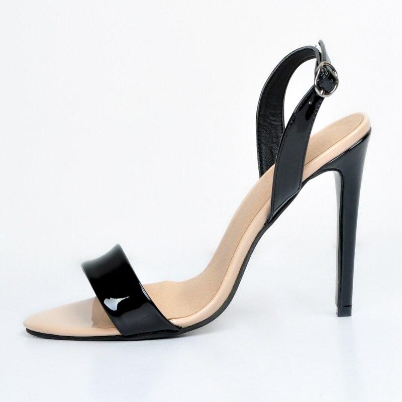 ФОТО Simple Women Sandals High Heels Stilettos Fashion Summer Shoes Black And Nude Slingbacks Stilettos Heels Plus Size 34-45