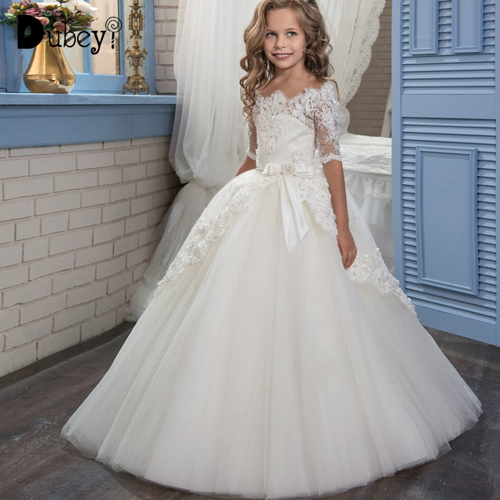 8df9372ed Lace Fancy Dress Up Costume for Kids Flower Girls Dresses for Party and  Wedding Teen Girl