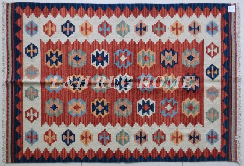 Livraison gratuite 2'X5' kilim tapis, tapis Kelim en laine noués à la main, Pakistan tapis turc