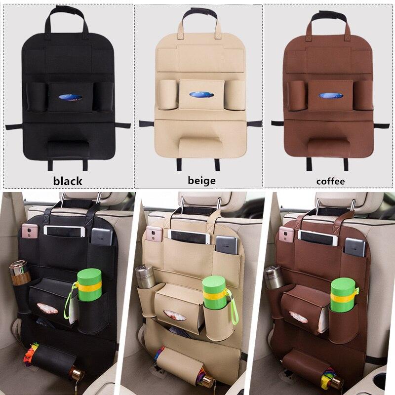 GSPSCN New Car Back Seat Pu Leather Storage Bag Hanging Bags Vehicle Multifunction Travel Waterproof Storage