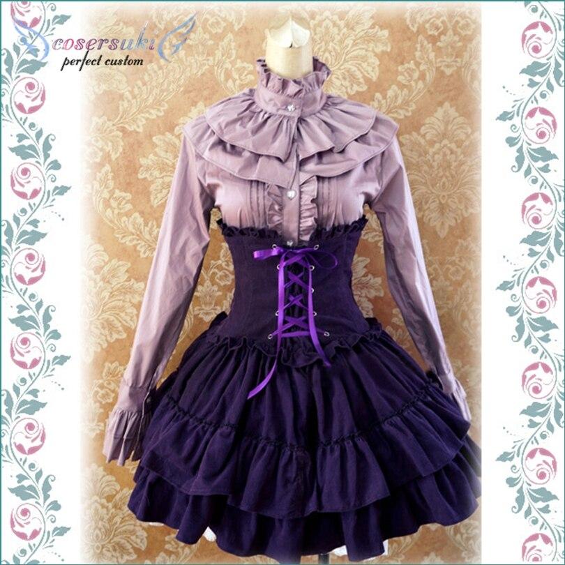 Gothic Lolita Dress SK Lavender High Waist Lace Up Ruffles Lolita Skirt Sleeveless dress Newest