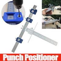 Aluminum Alloy Punch Locator Set Drill Guide Hardware Cabinet Jig Drawer Sleeve Woodworking Tool Pocket Hole