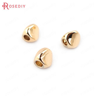 (33203)20PCS 4.5MM hole 2MM 24K Champagne Gold Color Plated Brass Smooth Twisted Beads Spacer Beads Jewelry Findings Accessories 20pcs 4x3mm 24k champagne gold color plated brass beads caps high quality diy jewelry accessories