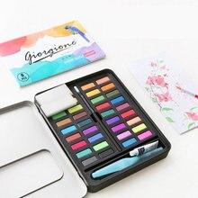 36 Colors Solid Watercolor Set Pigment Powder Paint Supplies 8-Pieces Water Color Paint Set For Kids Painting Beginner