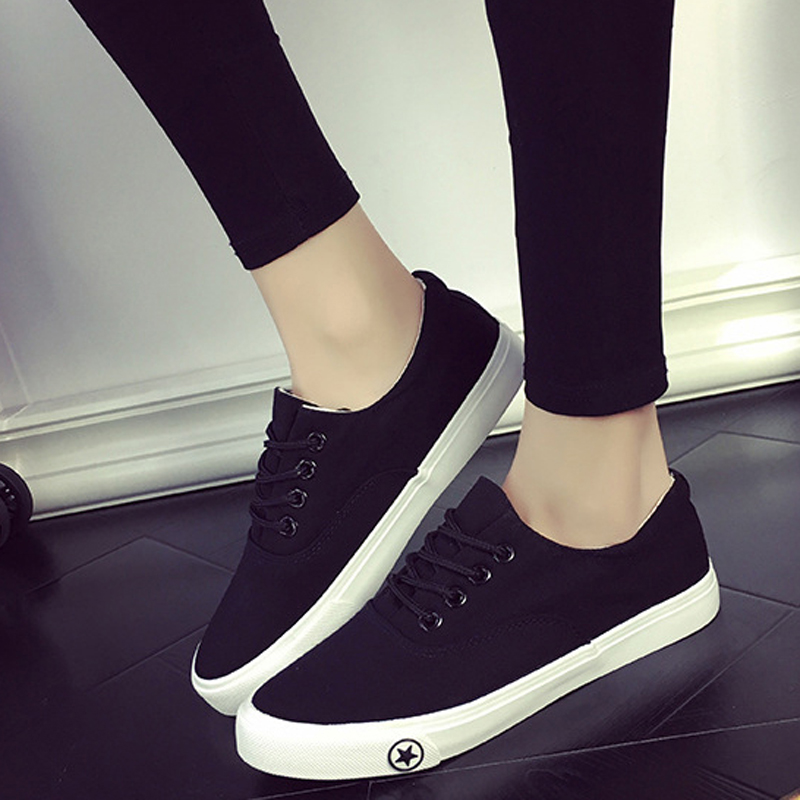 2018 new Spring women sneakers high quality breathable shallow canvas shoes women flat solid Women's Vulcanize Shoes black цены онлайн