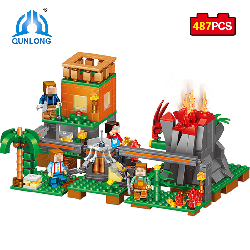 Qunlong 487pcs My World Mini Figures Volcano Base Building Blocks Educational Bricks Toy For Kid Compatible Legos Minecraft City qunlong 0521 my world volcano mine building blocks toy compatible legoe minecraft building block city educational boys toy gift