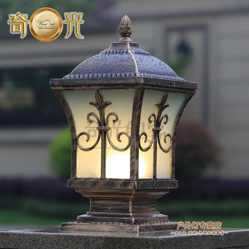 Villa courtyard wall light column head wall light square for Landscape pillar lighting