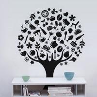 KUCADA creative cartoon food tree wall sticker for kitchen decoration mural art decal diy black wallpaper removable WP1108