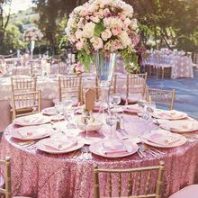 B·Y  Round Sequin Tablecloth 132inch-330cm Pink Gold Table Cover for Christmas Party Wedding decor-9531