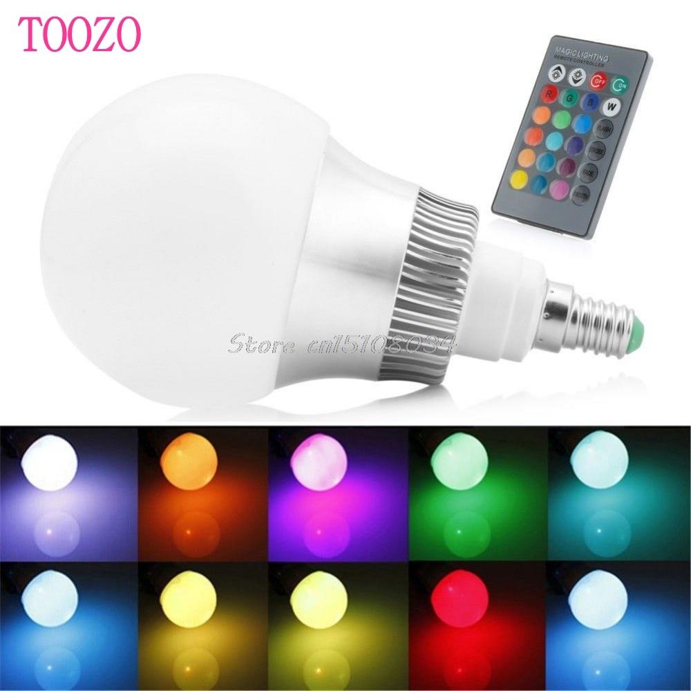 E14 85-265V 15W RGB LED Light Color Changing Lamp Bulb + Remote Control #S018Y# High Quality keyshare dual bulb night vision led light kit for remote control drones
