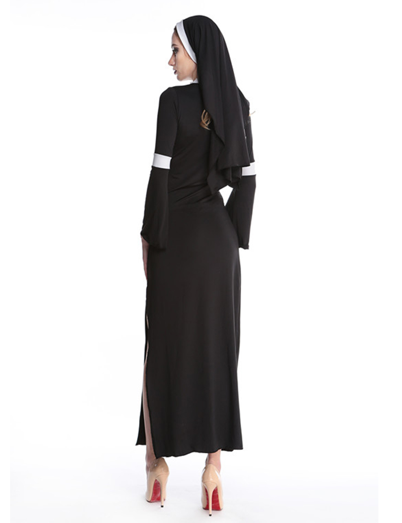 MOONIGHT Sexy Nun Costume Adult Women Cosplay Dress With Black Hood Halloween Costume Cosplay Party Costume 1