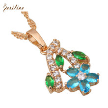 Fashion Jewelry Blue Zircon white Cubic Zirconia Yellow gold pendant necklace for women P100(China)
