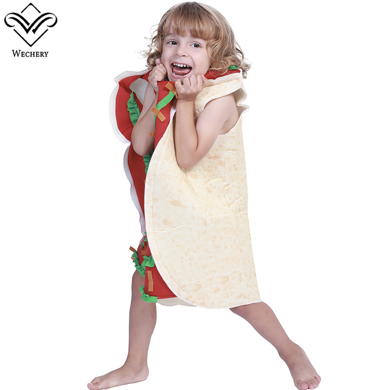 Wechery Children Halloween Cosplay Taco Costumes Boys Girls One Piece Jumpsuit Mexican Style Funny Clothing