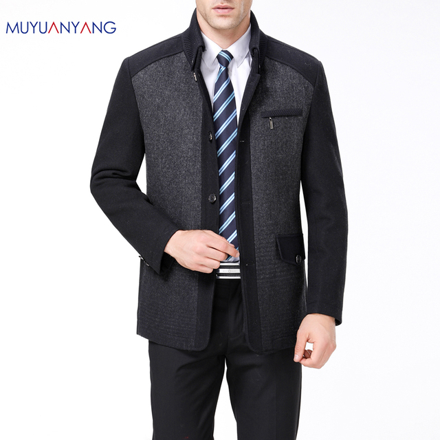 631a8c1772e Mu Yuan Yang Men Spring Jackets Business Casual Turn-down Collar Wool Overcoat  Single Breasted Woolen Jacket Large Size 2XL 3XL