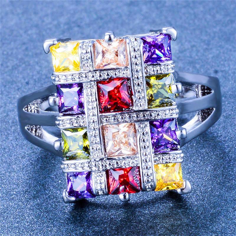 Luxus Weibliche Großen Regenbogen Stein Ring Vintage Nette Hochzeit Party Ringe Schmuck Versprechen Engagement Ringe Für Frauen