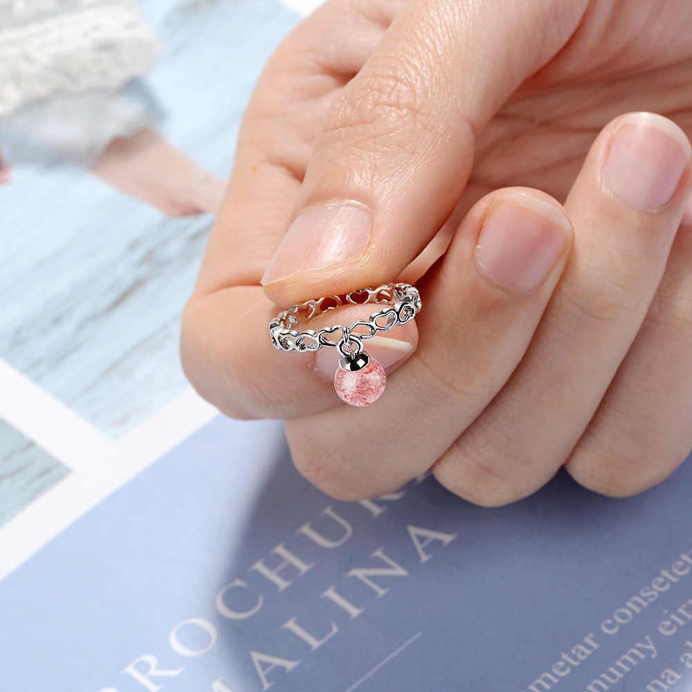 Utimtree น่ารักเปิดแหวนเงิน 925 เครื่องประดับหิน Hollow Out หัวใจปรับแหวนผู้หญิงสาว Anel ของขวัญ