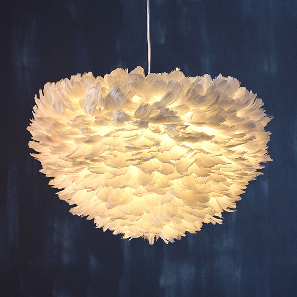 "15.7"" Modern Pendant Light Feather Shade Chandelier Ceiling Lighting White USA"
