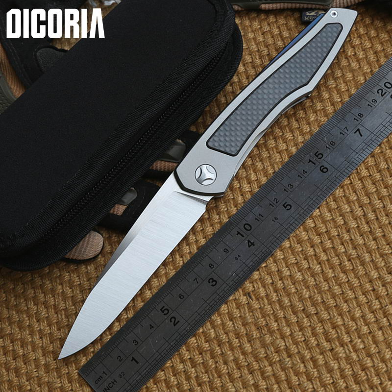 DICORIA Piston Tactical ball bearing Flipper Titanium + Carbon Fiber handle D2 blade Folding camping hunt outdoor Knife EDC tool jufule doc folding d2 blade titanium g10 bearing flipper tactical kitchen knife outdoor survival camping pocket hunt edc tool