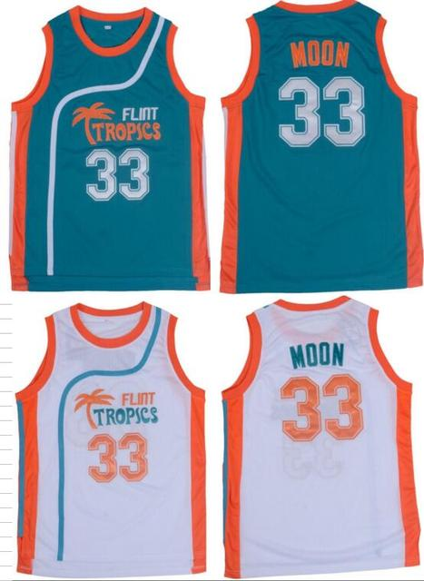 3b8ebfd0f Jackie Moon Flint Tropical Throwback Jerseys 33  Retro Basketball Movie Jersey  Cool Shirt Stitched Jersey Man White Green