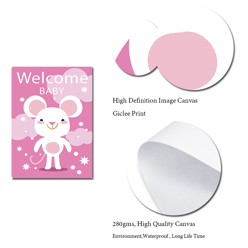 Welcome Baby Animals Canvas Posters and Prints Nursery Kids Room Painting Kawaii Elephant Cat Pictures For Toddler Room Decor in Painting Calligraphy from Home Garden