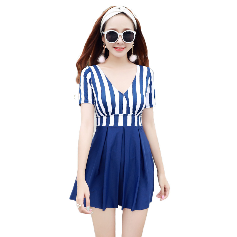 Hot Top Quality Summer Beach Navy Blue Striped Deep-V Sexy Women One Pieces Swimwear Wire Free Backless Slender Lady  Swimsuit hot summer beach high quality sexy women backless one pieces swimwear slender lady mix colors swimsuit pool bathing suit