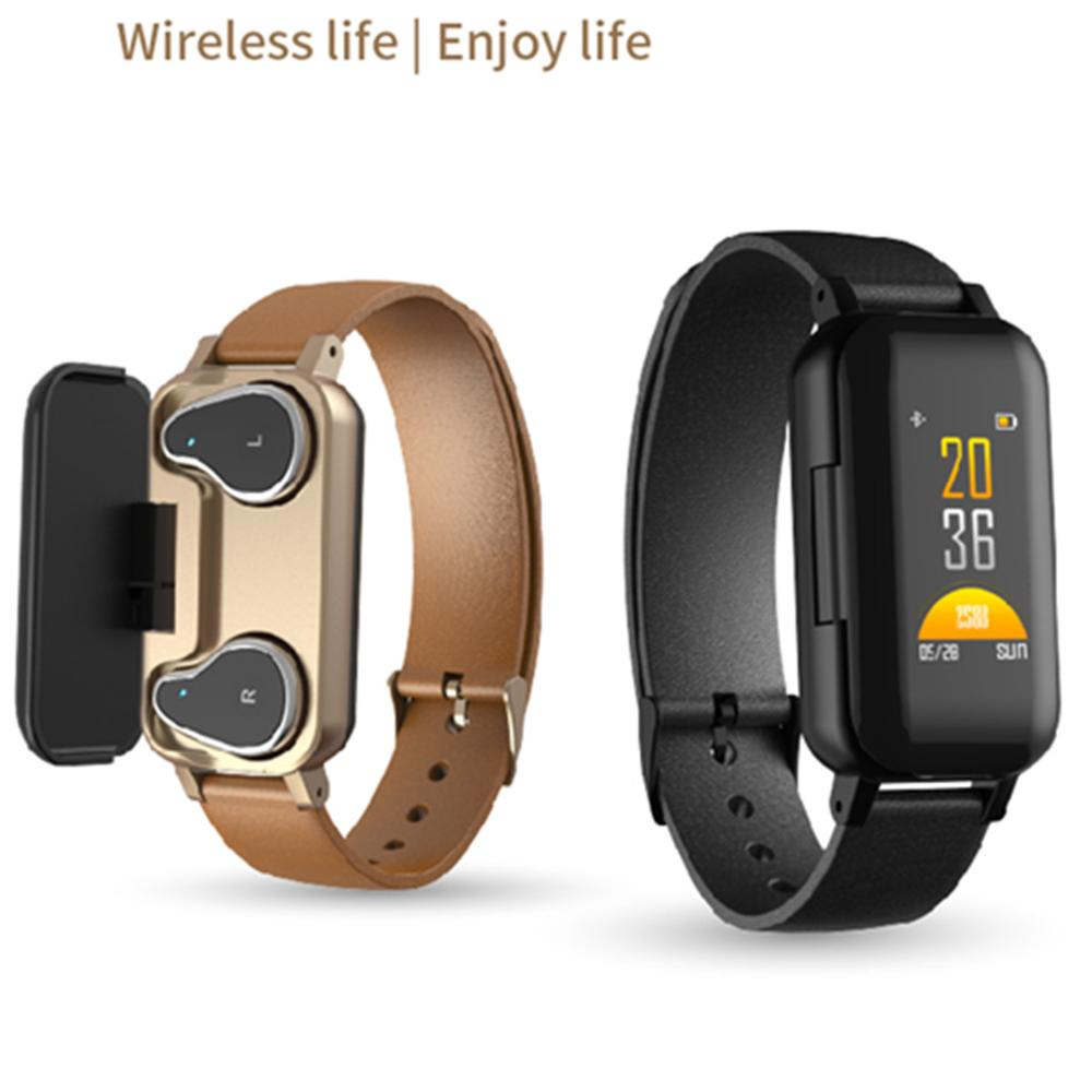 <font><b>T89</b></font> <font><b>TWS</b></font> Smart Binaural Bluetooth Earphone Headphone Fitness Bracelet Heart Rate Monitor Smart Wristband Smartwatch Men Gifts image