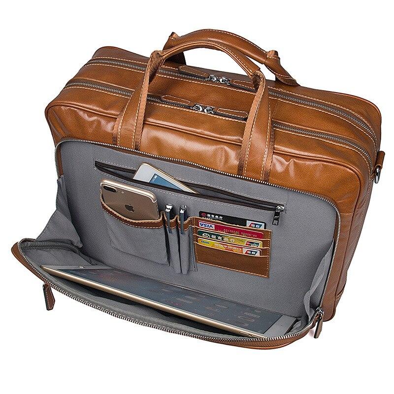 Роскошная винтажная Мужская сумка из натуральной кожи, Большой Вместительный деловой мужской портфель, сумки для ноутбука - 6