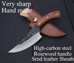 Image 2 - KKWOLF нож из высокоуглеродистой стали, прямой кованый охотничий нож ручной работы, 58HRC, деревянная ручка, походный тактический нож для выживания