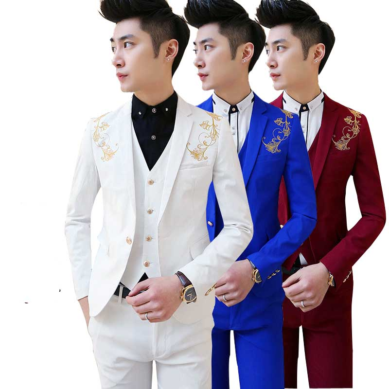 free shipping 2016new Korean Mens casual suit Slim fit boys prom suits 3-piece royal blue mens suit wedding red tuxedo jacket