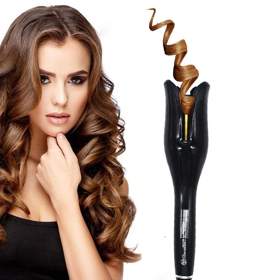 Modelador de cabelo automático rolo ar rotação n onda cerâmica rotativa magia curling ferro para todos os tipos de cabelo lcd display digital