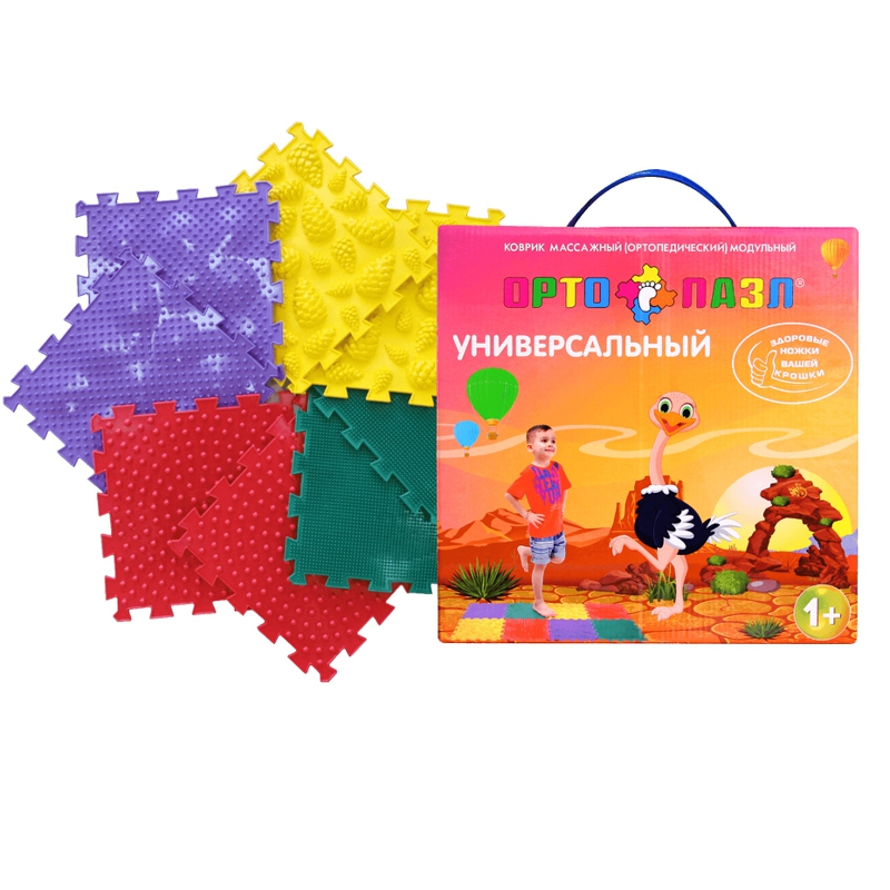 Детский массажный коврик ОРТО ПАЗЛ, набор Ёжики, микс развивающий коврик орто пазл микс море