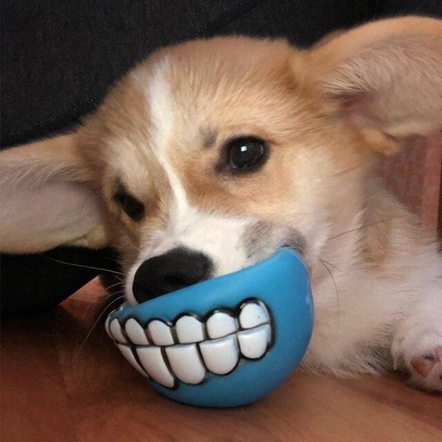 7.5 centimetri Divertente Giocattoli Del Cane Palla con I Denti del Cucciolo del Gatto del PVC Cani Sonori Chew Recupero Del Gioco del Giocattolo Squeak Giocattoli Da Compagnia prodotto