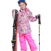 Winter Ski Suits for Girls Floral Jackets Bib Pants Kids Snow Sets Windproof Fleece Warm Children Skiing Outfits Snowboarding