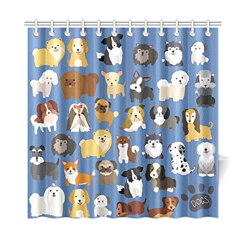 Cute Dog and Puppy Set Art Digital Print Polyester Fabric Shower Curtain, 72 x 72 Inches