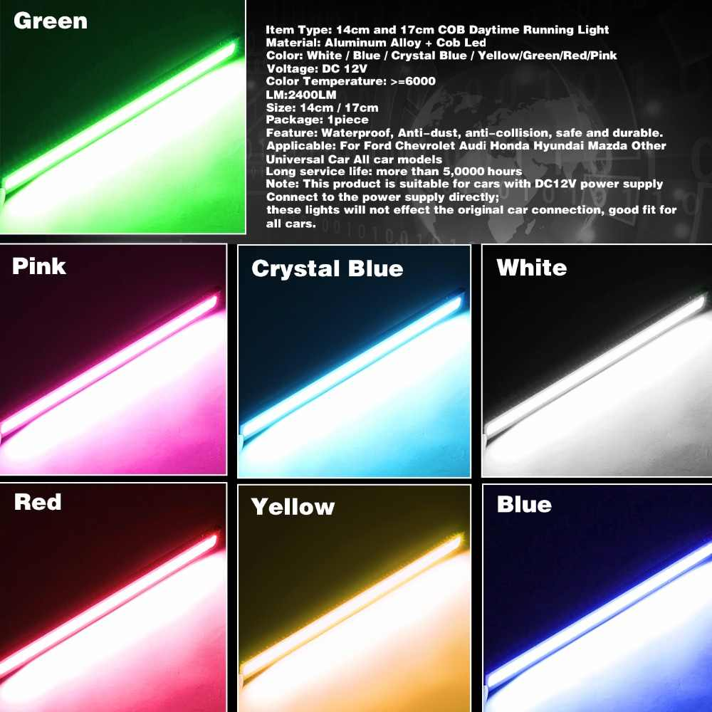 LEADTOPS 1 Pcs COB LED Luzes Diurnas DC 12 V DRL 14-17mm Waterproof Auto Car COB Driving Nevoeiro Lâmpada carro styling DJ