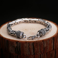 100% of 925 Silver, Thai Silver men's bracelet peace lines domineering male money big jewelry Retro couple ladies bracelet