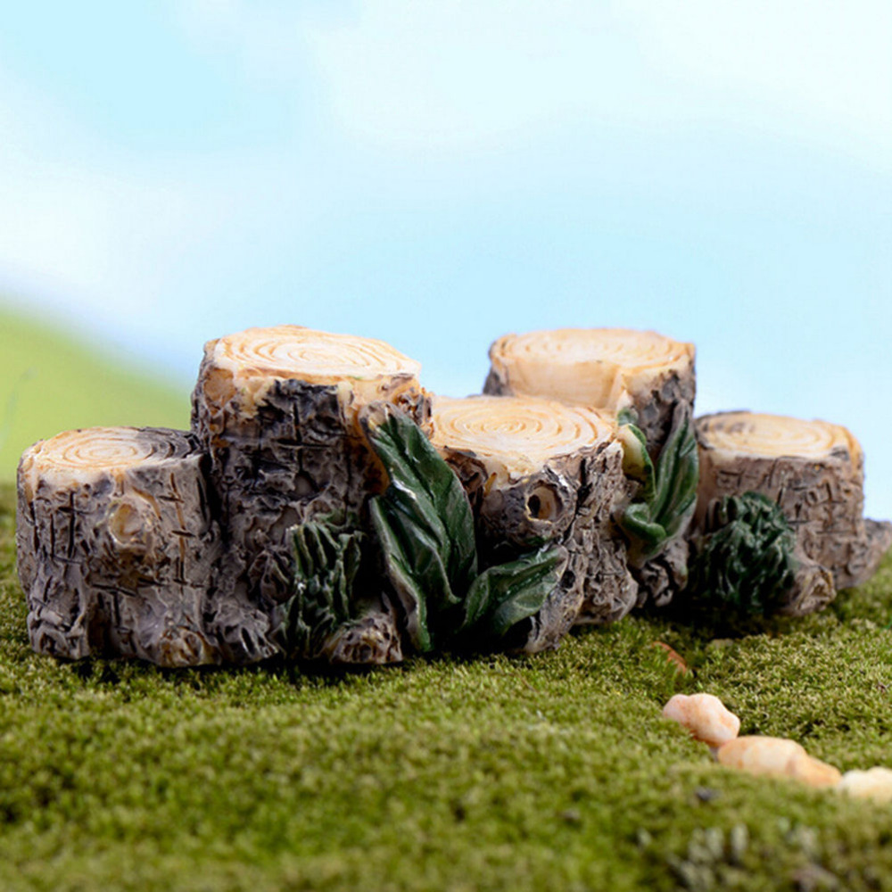 1Pcs Miniature Resin Tree Stump Bridge Craft Garden Figurines Mini  Landscape Fairy Ornament Flower Pot Plant