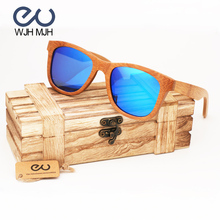 MJH WJH marca De Bambú De Madera gafas de Sol Polarizadas gafas de sol de La Vendimia Caja De Madera de la Playa gafas de Sol de Conducción gafas de sol