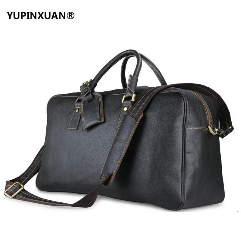 YUPINXUAN Mens Large Capacity Cow Leather Handbags Big Genuine Leather Travel Bags Luggage Hand Bags First Layer Cowhide Chile yupinxuan dark brown crazy horse leather handbags men first layer cow leather messenger bags high capacity leather shoulder bags