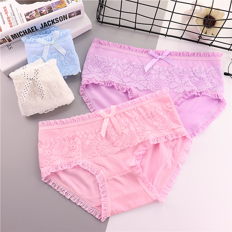 Ultra-thin briefs Woman Underwear Cotton Panties Sexy lace Ladies Briefs lace Intimates Lingerie candy color Vs Pink Wmen
